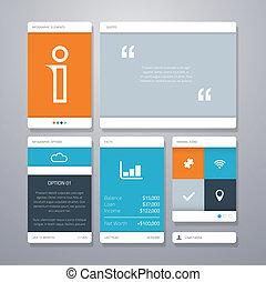 平ら, ベクトル, イラスト, infographic, ui, 最小である, 新たに, 要素を設計しなさい