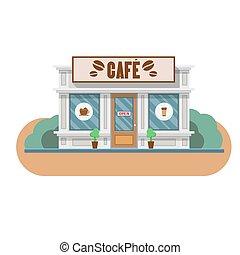 平ら, ベクトル, カフェ, イラスト, 建物。