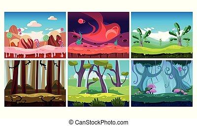平ら, ベクトル, セット, の, 6, カラフルである, 横, 背景, ∥ために∥, モビール, ∥あるいは∥, コンピュータ, game., 甘い, 土地, そして, jungles., 漫画, おとぎ話, 風景