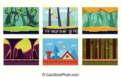 平ら, ベクトル, セット, の, 6, 現場, ∥ために∥, モビール, game., 漫画, 背景, ∥で∥, 緑, ジャングル, 家, 屋根, 素晴らしい, 森林, そして, 地下牢