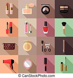 平ら, ベクトル, セット, 化粧品, アイコン