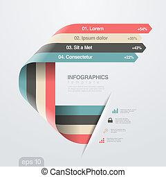 平ら, ベクトル, デザイン, テンプレート, infographics, 最新流行である, style., リボン