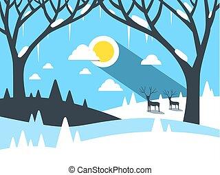 平ら, ベクトル, デザイン, 冬の景色