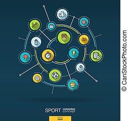 平ら, ベクトル, バックグラウンド。, 抽象的, デジタル, システム, icons., 円, infographic, 連結しなさい, フィットネス, 線, スポーツ, インテグレイテド, 薄くなりなさい