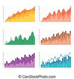 平ら, ベクトル, バー, ビジネス, elements., charts., チャート, グラフ, infographic, プレゼンテーション, カラフルである, illustration.