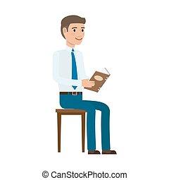 平ら, ベクトル, ビジネスマン, 椅子, 読む本