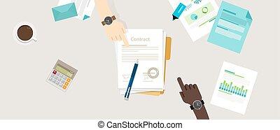 平ら, ベクトル, ビジネス 取り引き, 人々, 合意, イラスト, 手, ペン, ペーパー, 契約, 机, 印, 2