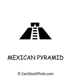 平ら, ベクトル, ピラミッド, メキシコ人, アイコン