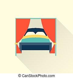 平ら, ベクトル, ベッド, アイコン
