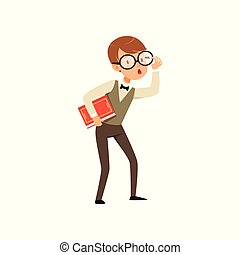 平ら, ベクトル, ワイシャツ, pants., expression., 服を着せられる, 手。, 男の子, 特徴, 驚かされる, 顔, 本, デザイン, 生徒, 保有物, quirky, ベスト, nerd, 痛みなさい, 子供