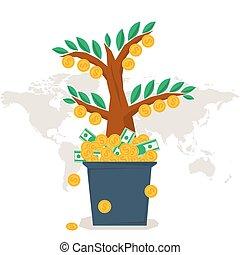 平ら, ベクトル, 木, お金