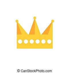 平ら, ベクトル, 王冠, 金, アイコン