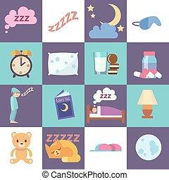 平ら, ベクトル, 睡眠の時間, アイコン