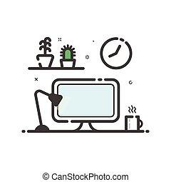 平ら, ベクトル, 線である, 色, ランプ, イラスト, flowers., コンピュータ, 机, 線, style., アイコン