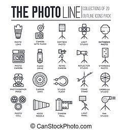 平ら, ベクトル, 線である, 薄くなりなさい, アイコン, 写真, concept., アウトライン, イラスト, 装置, 他, デザイン, カメラ, 背景, カメラマンの スタジオ, 線, 項目, set., レンズ, スタッフ