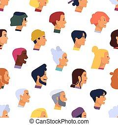平ら, ベクトル, 頭, パターン, 背景, 男性, seamless, 年配, 若い, 織物, バックグラウンド。, hairstyles., 様々, イラスト, 人々, 流行, 白, 女性, 漫画, プロフィール, print.