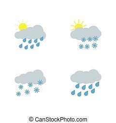 平ら, ベクトル, illustration., アイコン, set., 天候, style.