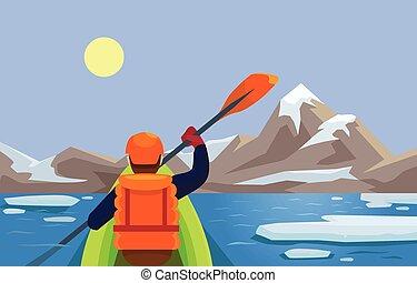 平ら, ベクトル, kayaking., イラスト