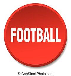 平ら, ボタン, フットボール, 隔離された, 押し, ラウンド, 赤