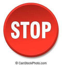 平ら, ボタン, 止まれ, 隔離された, 押し, ラウンド, 赤