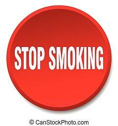 平ら, ボタン, 止まれ, 隔離された, 押し, 喫煙, ラウンド, 赤