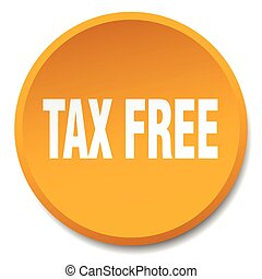 平ら, ボタン, 税, 隔離された, 無料で, オレンジ, 押し, ラウンド