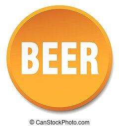 平ら, ボタン, 隔離された, オレンジ, ビール, 押し, ラウンド