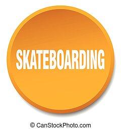 平ら, ボタン, 隔離された, オレンジ, skateboarding, 押し, ラウンド