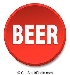 平ら, ボタン, 隔離された, ビール, 押し, ラウンド, 赤