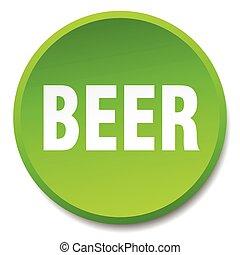 平ら, ボタン, 隔離された, ビール, 緑, 押し, ラウンド