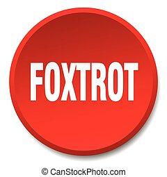 平ら, ボタン, 隔離された, 押し, ラウンド, 赤, フォックス・トロット