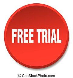 平ら, ボタン, 隔離された, 無料で, 裁判, 押し, ラウンド, 赤