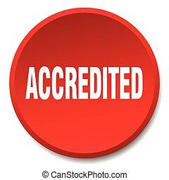 平ら, ボタン, 隔離された, accredited, 押し, ラウンド, 赤