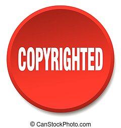 平ら, ボタン, 隔離された, copyrighted, 押し, ラウンド, 赤