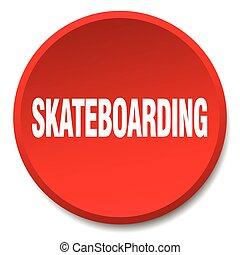 平ら, ボタン, 隔離された, skateboarding, 押し, ラウンド, 赤