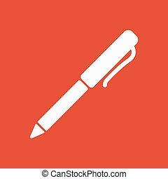 平ら, ボールペン, シンボル。, 執筆ペン, icon.