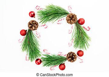 平ら, ボール, ブランチ, お祝い, フレーム, 上, 松, クリスマスの 装飾, バックグラウンド。, 杖, キャンデー, 白, 位置, 赤, 光景