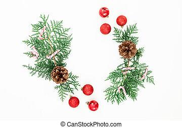 平ら, ボール, ブランチ, フレーム, 上, 松, クリスマスの 装飾, バックグラウンド。, 杖, キャンデー, 白, 位置, 赤, 光景