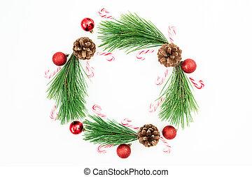 平ら, ボール, ブランチ, 冬, お祝い, 位置, 上, 松, クリスマスの 装飾, バックグラウンド。, 杖, キャンデー, 白, フレーム, 赤, 光景