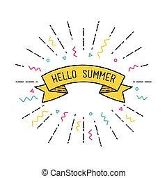 平ら, ポスター, ベクトル, summer., こんにちは, design.