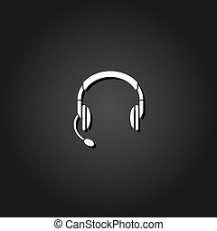 平ら, マイクロフォン, ヘッドホン, ヘッドホン, アイコン