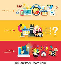平ら, マーケティング, 作戦, デザイン, デジタル, 管理