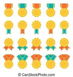 平ら, メダル, セット, 色, ベクトル, 賞, ribbons., ∥あるいは∥, バッジ, アイコン