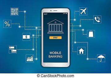 平ら, モビール, concept., 銀行業, infographic, デザイン, アイコン