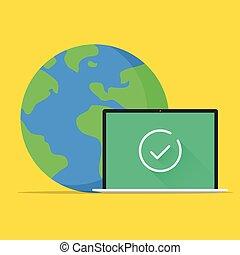 平ら, ラップトップ・コンピュータ, 地球, 線, イラスト, 印, ベクトル, 地球, icon., 点検, design.