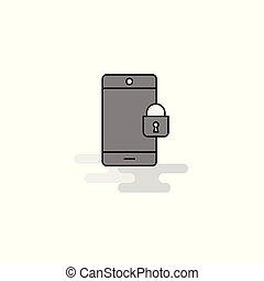 平ら, ロックされた, 灰色, 電話, ベクトル, 網, icon., 線, 満たされた, アイコン