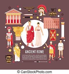 平ら, ローマ, 古代, 構成, ポスター
