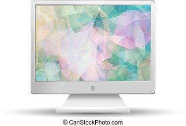 平ら, 三角形, カラフルである, tv, 抽象的, 現代, polygonal, スクリーン