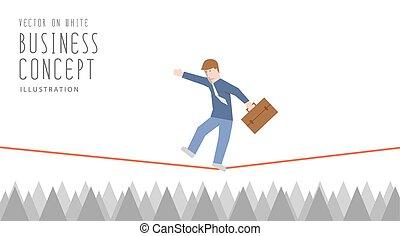 平ら, 上に, ロープ, vector., ビジネスマン, とげ, シャープ, 均衡