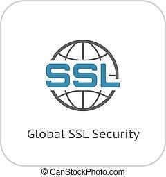 平ら, 世界的である,  SSL, セキュリティー, アイコン, デザイン